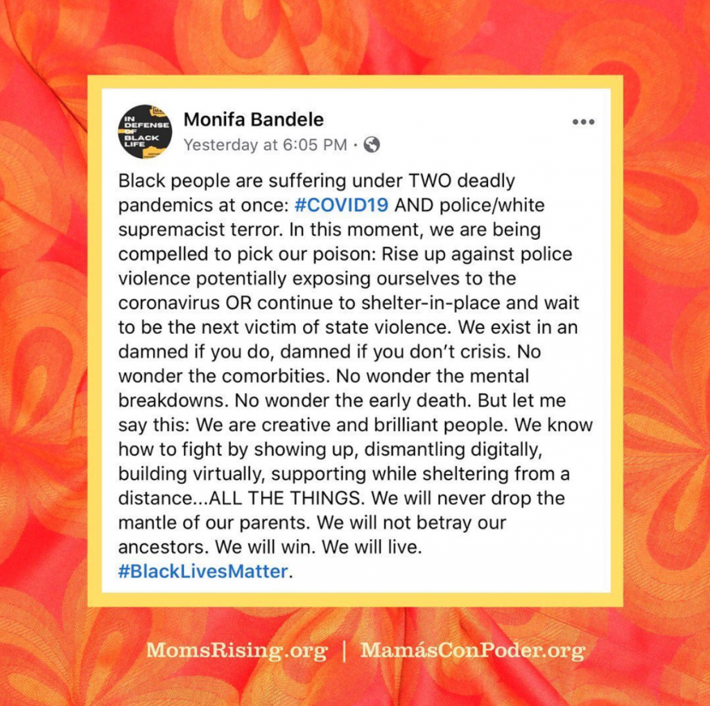 Monifa Bandele Instagram Post Black Lives Matter