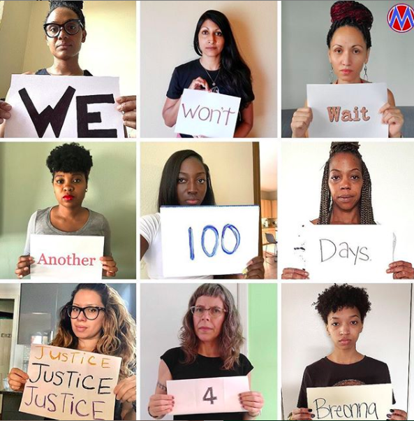 "[IMAGE DESCRIPTION: A photo grid with individuals holding signs with one word each, together reading ""We won't wait another 100 days. Justice for Breonna""]"