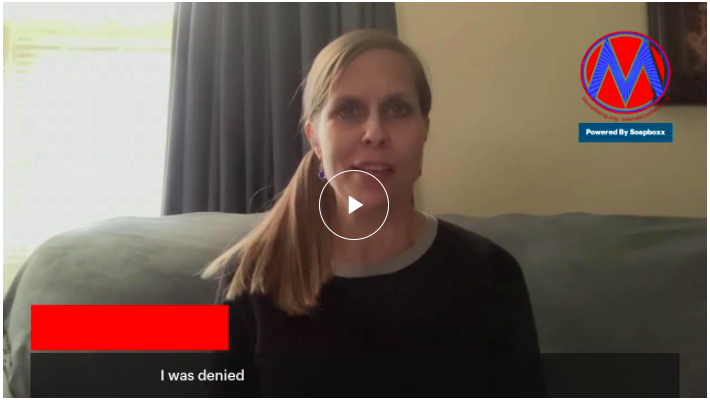 [IMAGE DESCRIPTION: A screenshot of a video of a woman about to tell her healthcare story.]