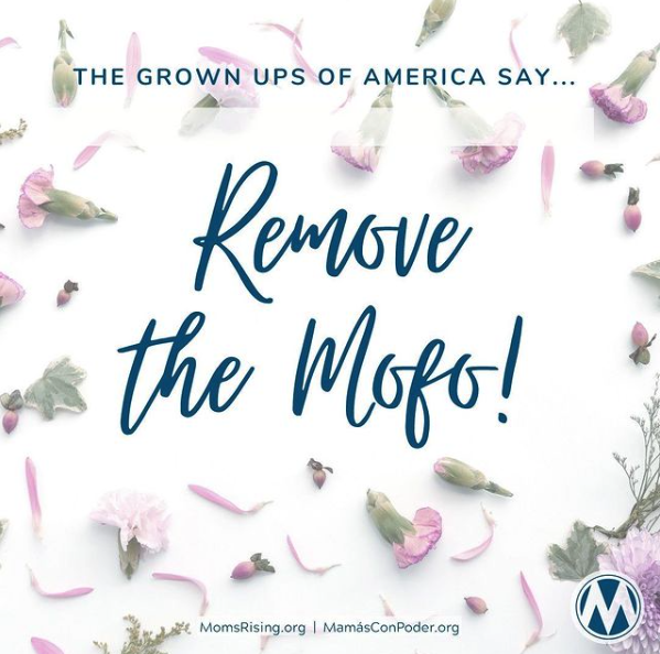"IMAGE: Floral background with the words ""the grownups of America say...remove the mojo!"" in the foreground]"