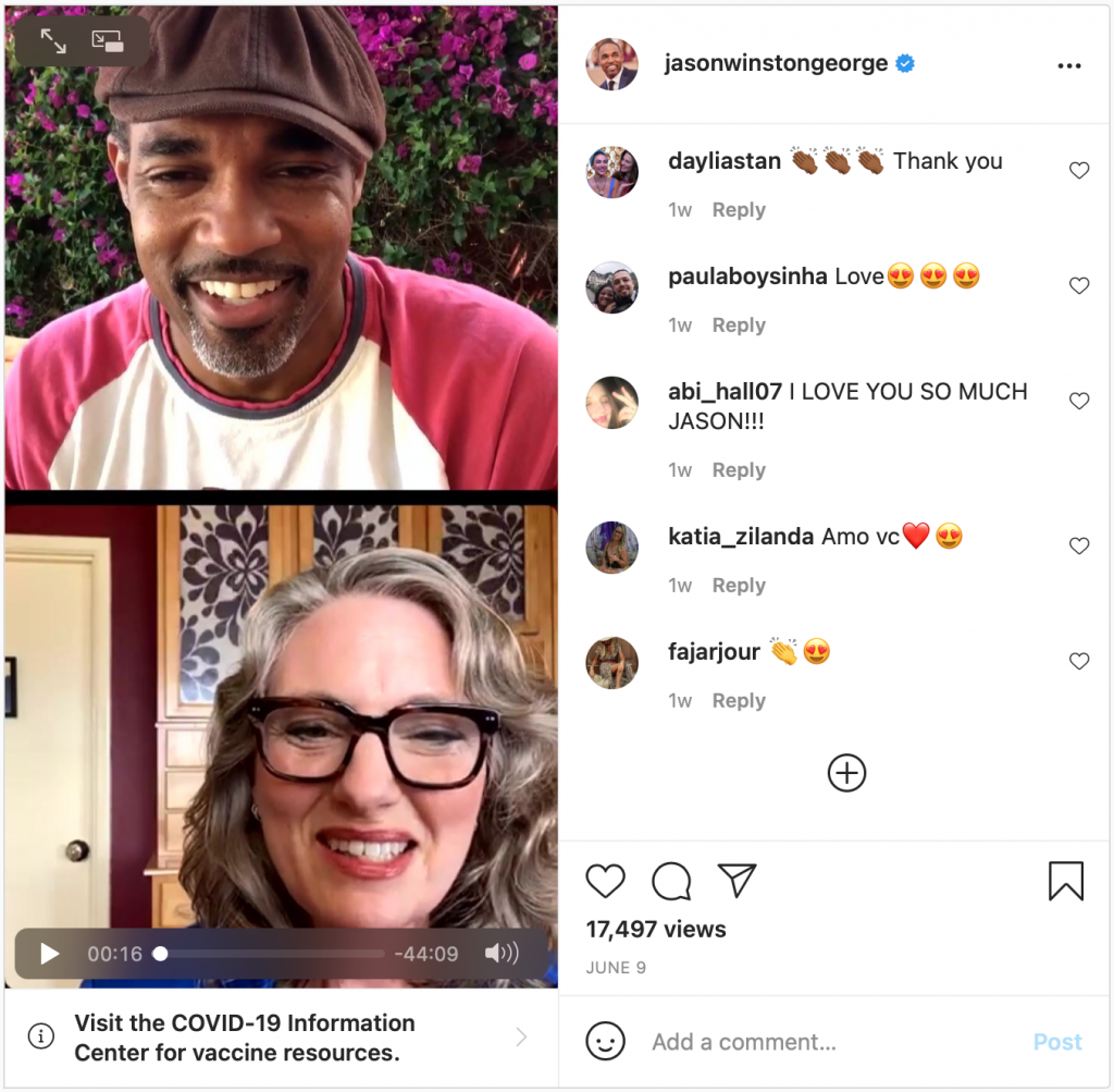 Screen capture of Paid Leave Instagram Chat with Jason George and Kristin Rowe-Finkbeiner