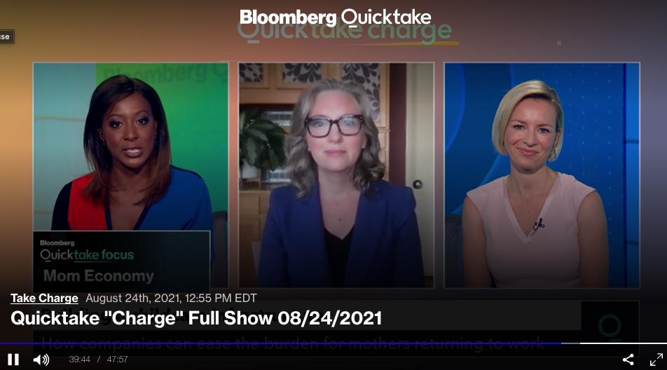 Video still of Kristin Rowe-Finkbeiner on Bloomberg