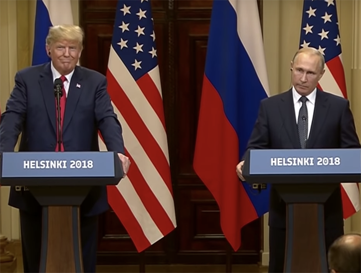 [IMAGE DESCRIPTION: President Trump and President Putin stand behind podiums at the Helsinki summit.