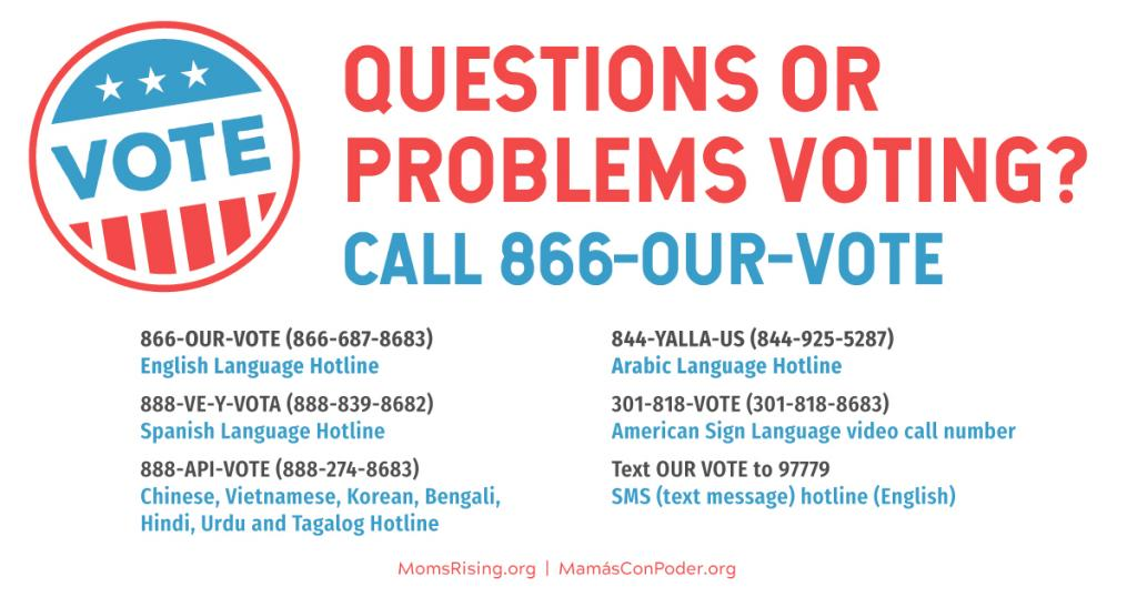 [IMAGE DESCRIPTION: A graphic image with info on a voter suppression hotline, 866-OUR-VOTE]