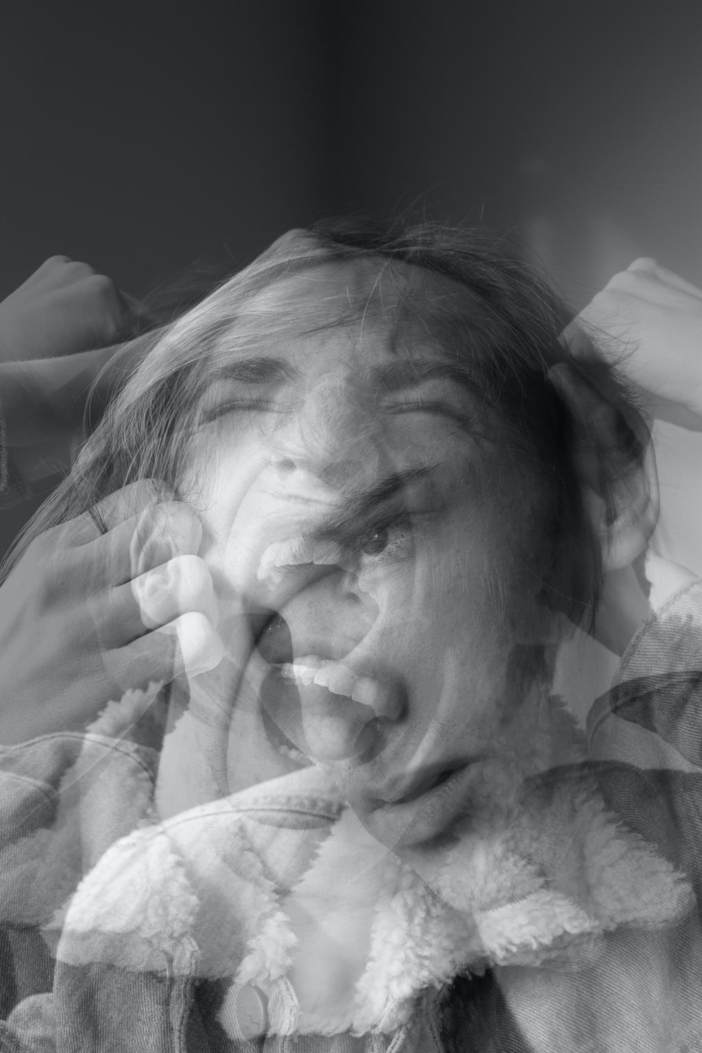 double exposed photo of a person screaming