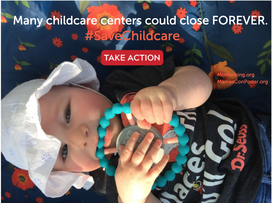 "[IMAGE DESCRIPTION: A photo of a baby lying down, wearing a hat, holding a rattle, and text that says ""Many childcare centers could close forever. #SaveChildcare""]"