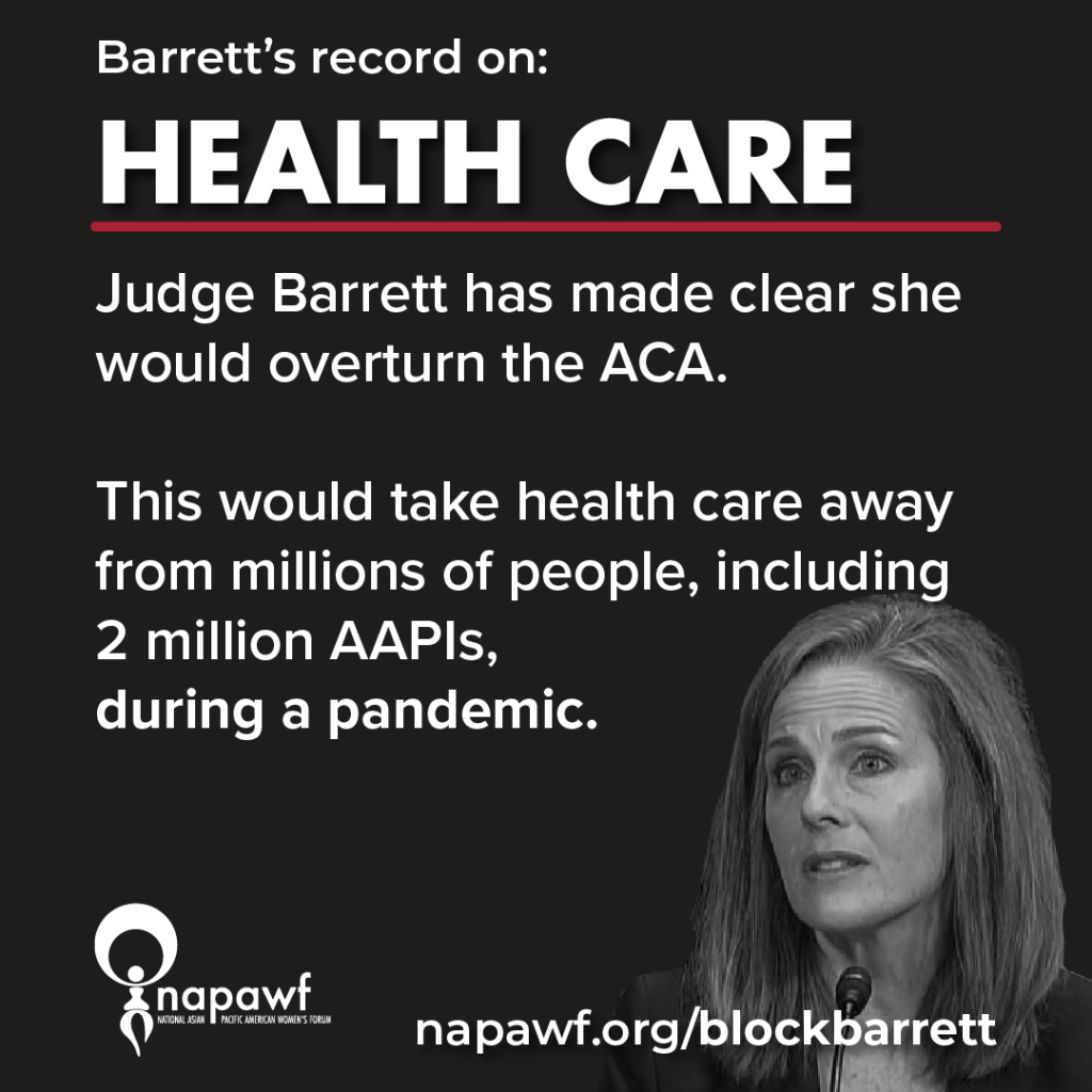 Barrett has made clear she would overturn the ACA and take health care away from millions