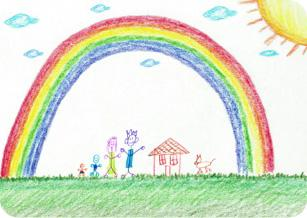Child's crayon drawing of a rainbow and two children