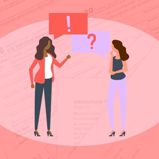 Illustration of two female figures asking and answering a question