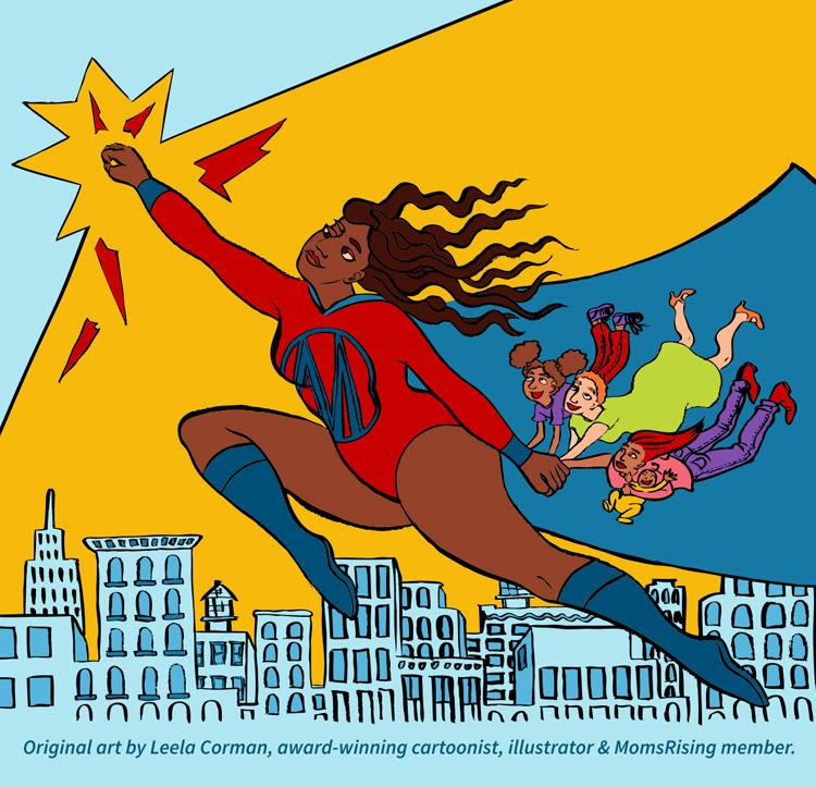 cartoon superhero mom flying to the stars
