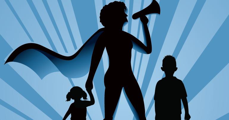 supermom cartoon with megaphone
