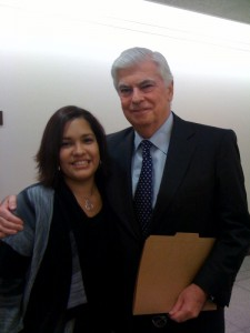 MomsRising member Desiree with Senator Dodd before the hearing.